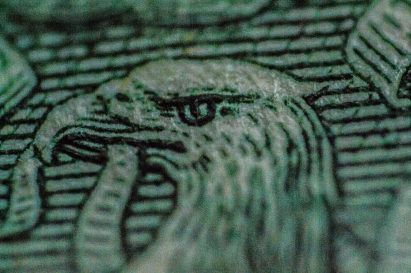 Proud Money- Eagle Detail Printed on a Dollar Bill