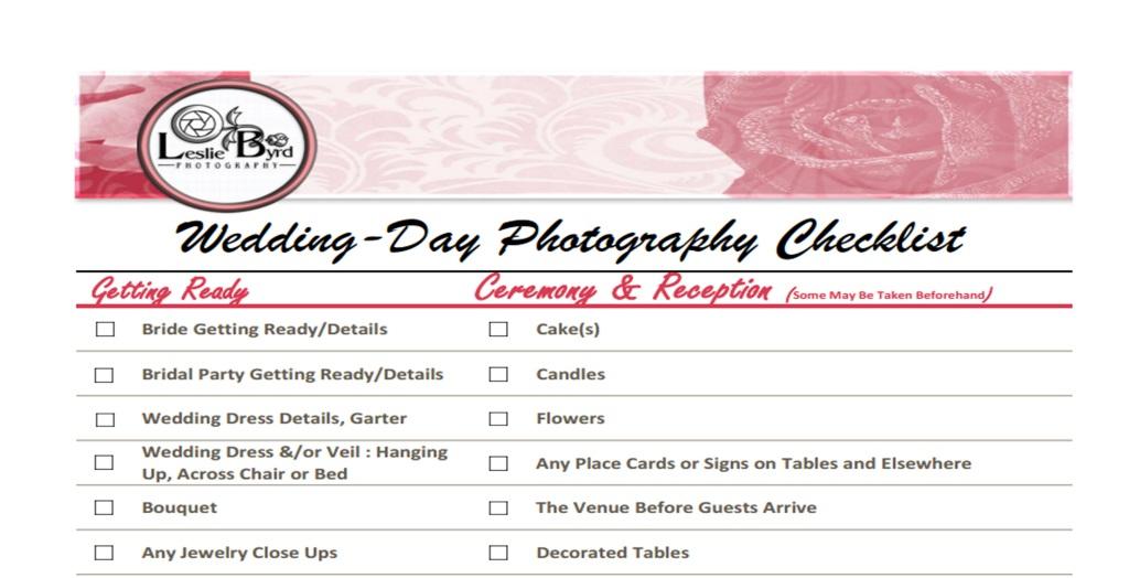 Wedding Day Photography Checklist Image